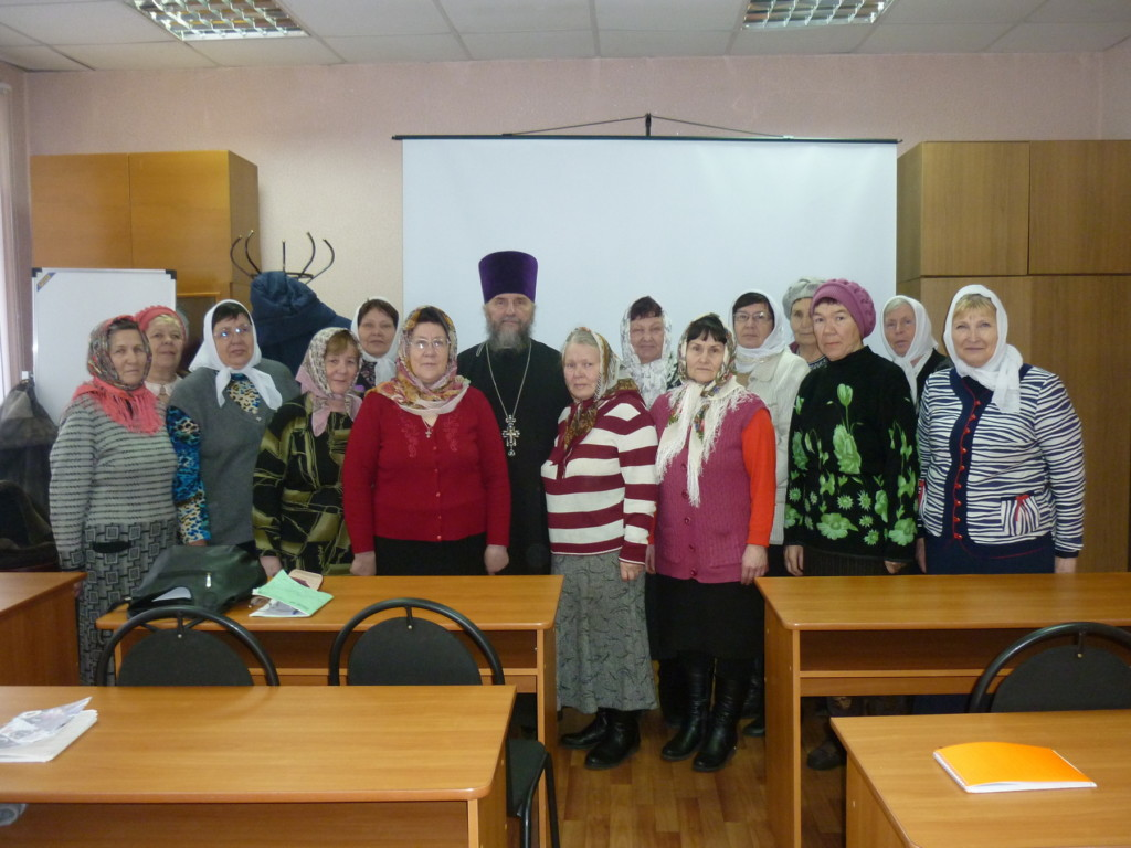Встреча благочинного Южного церковного округа протоиерея Александра Тимушева с группой слушателей православного кружка при КЦСОН.